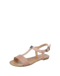 rosa flache Sandalen aus Leder von Esprit