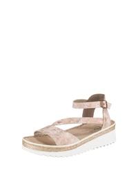 rosa flache Sandalen aus Leder von Rieker