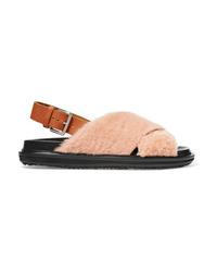 rosa flache Sandalen aus Pelz von Marni