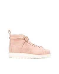 rosa flache Stiefel mit einer Schnürung aus Leder von adidas