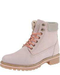 rosa flache Stiefel mit einer Schnürung aus Leder von Apple of Eden