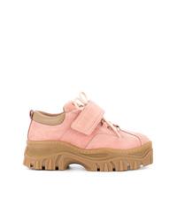 rosa flache Stiefel mit einer Schnürung aus Wildleder von MSGM