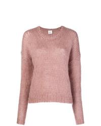 rosa flauschiger Pullover mit einem Rundhalsausschnitt von Alysi