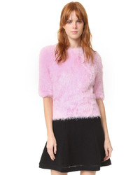 rosa flauschiger Pullover mit einem Rundhalsausschnitt von Carven