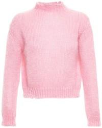 rosa flauschiger Pullover mit einem Rundhalsausschnitt von Filles a papa