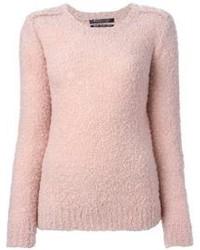 rosa flauschiger Pullover mit einem Rundhalsausschnitt von Maison Scotch