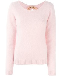 rosa flauschiger Pullover mit einem Rundhalsausschnitt von No.21