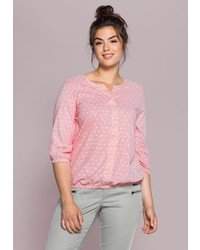 rosa gepunktete Langarmbluse von SHEEGO CASUAL