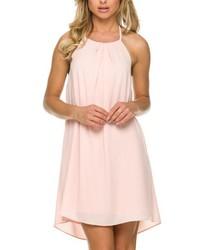 rosa gerade geschnittenes Kleid aus Chiffon