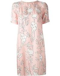 rosa gerade geschnittenes Kleid mit Blumenmuster