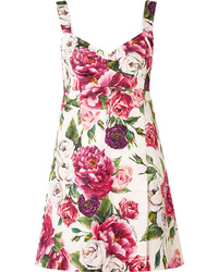 rosa gerade geschnittenes Kleid mit Blumenmuster von Dolce & Gabbana