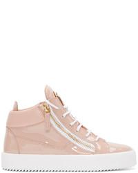 rosa hohe Sneakers aus Leder