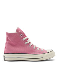 rosa hohe Sneakers aus Segeltuch von Converse
