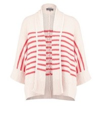rosa horizontal gestreifte Strickjacke mit einer offenen Front von KIOMI