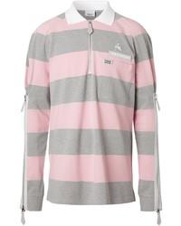 rosa horizontal gestreifter Polo Pullover von Burberry