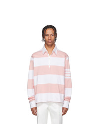 rosa horizontal gestreifter Polo Pullover von Thom Browne