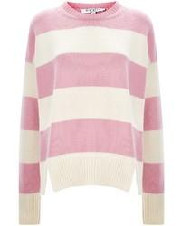 rosa horizontal gestreifter Pullover mit einem Rundhalsausschnitt