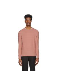 rosa horizontal gestreifter Pullover mit einem Rundhalsausschnitt von Ermenegildo Zegna