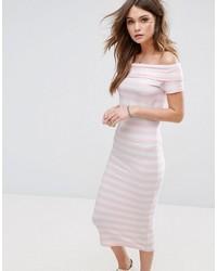 rosa horizontal gestreiftes schulterfreies Kleid von Only