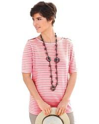 rosa horizontal gestreiftes T-Shirt mit einem Rundhalsausschnitt von COLLECTION L.