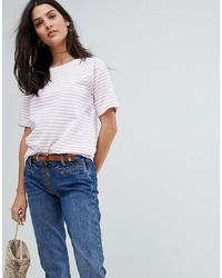 rosa horizontal gestreiftes T-Shirt mit einem Rundhalsausschnitt von MiH Jeans