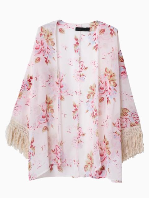 rosa Kimono mit Blumenmuster von Choies