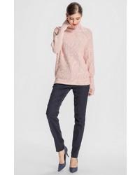 rosa klobiger Wollrollkragenpullover von Apart