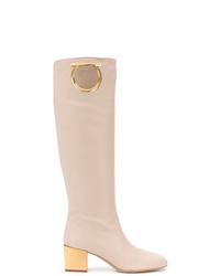 rosa kniehohe Stiefel aus Leder von Salvatore Ferragamo