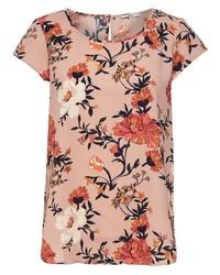 rosa Kurzarmbluse mit Blumenmuster von Only
