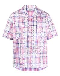 rosa Kurzarmhemd mit Schottenmuster von MSGM