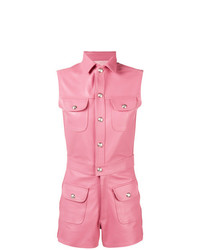 rosa kurzer Jumpsuit aus Leder von Manokhi