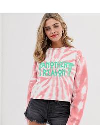 rosa Mit Batikmuster kurzer Pullover von Another Reason