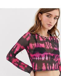 rosa Mit Batikmuster kurzer Pullover von Asos Petite