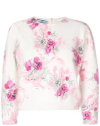 rosa kurzer Pullover mit Blumenmuster von Prada