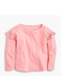 rosa Langarmshirt mit Rüschen