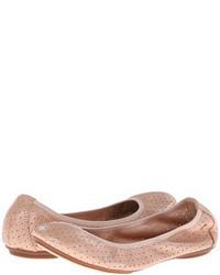rosa Leder Ballerinas