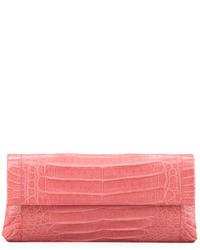 rosa Leder Clutch