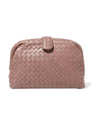 rosa Leder Clutch von Bottega Veneta