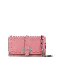rosa Leder Clutch von Prada