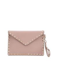 rosa Leder Clutch von Valentino