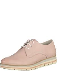 rosa Leder Derby Schuhe von Marco Tozzi