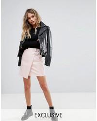 rosa Leder Minirock von Missguided