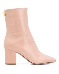 rosa Leder mittelalte Stiefel von Valentino