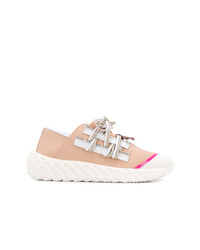 rosa Leder niedrige Sneakers von Giuseppe Zanotti Design