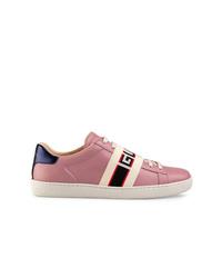 rosa Leder niedrige Sneakers von Gucci