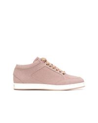 rosa Leder niedrige Sneakers von Jimmy Choo