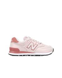 rosa Leder niedrige Sneakers von New Balance