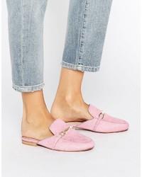 rosa Leder Pantoletten von Asos