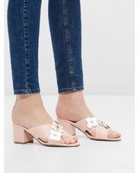 rosa Leder Pantoletten von Bianco