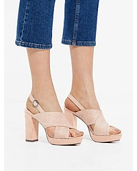 rosa Leder Sandaletten von Bianco